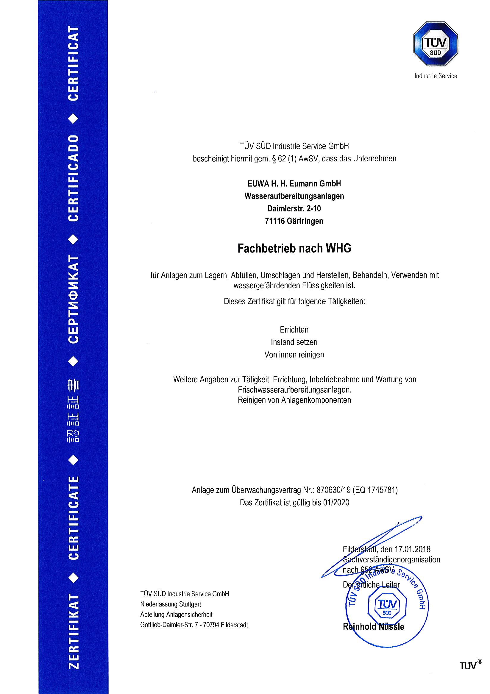 Certificates - EUWA